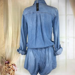 Velvet Heart Pants - Velvet Heart Chambray Long Sleeved Romper